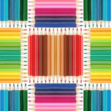 Colorful pencils seamless arrangement Royalty Free Stock Photos