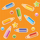 Colorful pencils seamless pattern Stock Photos