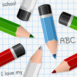 Colorful Pencils Seamless Pattern Stock Photography