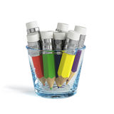 Colorful pencils set in the transparent glass  Stock Image