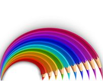 Colorful pencils in the shape of a rainbow. Vector Stock Images