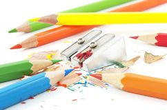Colorful pencils and sharpener Stock Photography