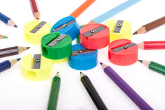 Colorful pencils and sharpeners Stock Image