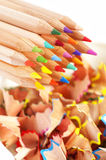 Colorful pencils and shavings Royalty Free Stock Image
