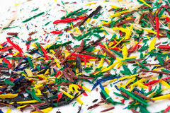 Colorful pencils shavings Royalty Free Stock Images