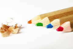 Colorful pencils and shavings Stock Image