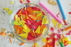 Colorful pencils shavings Stock Images