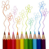 Colorful pencils tracing Stock Images