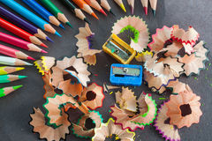 Colorful pencils and trash Royalty Free Stock Photos