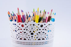 Colorful pencils in a vase Royalty Free Stock Photography