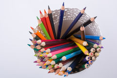Colorful pencils in a vase Stock Photography