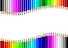 Colorful pencils wall on empty white background Royalty Free Stock Photography