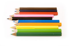 Colorful pencils on white Royalty Free Stock Photos