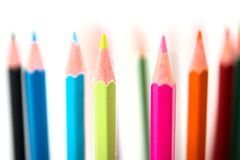 Colorful pencils on white background royalty free stock photography