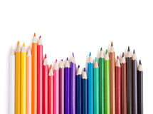 Colorful pencils on white background Stock Photos