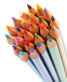 Colorful pencils on white background. Bunch of colorful pencils on white background royalty free stock photos