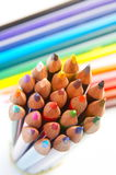 Colorful pencils on white background. Colorful pencils against white background royalty free stock image