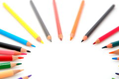 Colorful pencils on white background. Colorful pencils spread on white background Stock Images