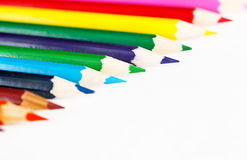 Colorful pencils on white background Royalty Free Stock Photos
