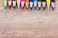 Colorful pencils on wood Royalty Free Stock Photo