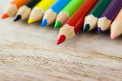 Colorful pencils on wood Royalty Free Stock Photography
