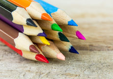 Colorful pencils on wood Stock Photography