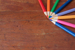 Colorful of pencils on wooden backgrounds Stock Images