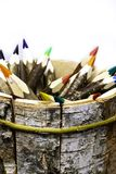 Back to school and education banner with colorful pencils, Frame of multicolored pencil on grey background. The first of September. Colorful pencils in wooden royalty free stock photos