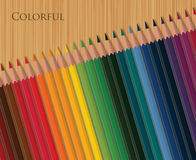 Colorful pencils on wooden table. Colorful pencils on wooden table vector illustration Stock Photography