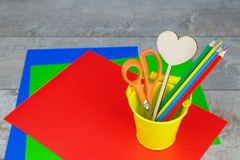 Colorful pendils, stationery on wooden desk royalty free stock image