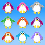 Colorful penguins stickers Royalty Free Stock Images