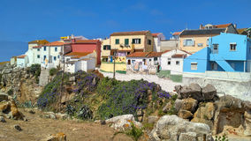 Colorful Peniche houses, Portugal Stock Photo