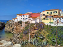 Colorful Peniche houses, Portugal stock image
