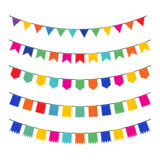 Colorful pennant bunting collection. With stitch lines isolated on white backgound in flat design. vector illustration Royalty Free Stock Photography