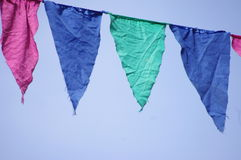Colorful pennants blue sky Stock Photo