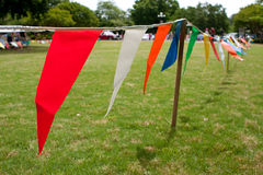 Colorful Pennants Line Field At Spring Festival Stock Images