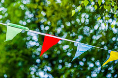 Colorful pennants in the wind Stock Image