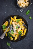 Colorful penne pasta  with parmesan cheese and basil Royalty Free Stock Photos