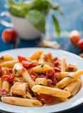 Colorful penne pasta with tomatoes Royalty Free Stock Photo