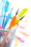 Colorful pens. Colorful gel pens on white background Stock Image