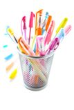 Colorful pens. Colorful gel pens on white background Stock Photo