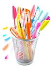 Colorful pens. Colorful gel pens on white background Royalty Free Stock Photos