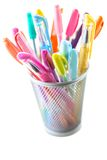 Colorful pens. Colorful gel pens on white background Stock Photos