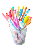 Colorful pens. Colorful gel pens on white background Royalty Free Stock Photo