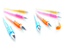 Colorful pens. Colorful gel pens on white background Stock Photography