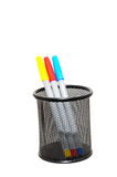 Colorful pens in bottle Stock Photo