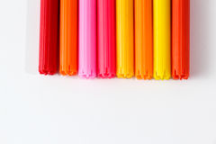 Colorful Pens. A bunch of colorful pens against white background, showing only the tips Stock Images