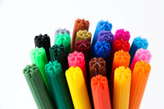 Colorful Pens. A bunch of colorful pens against white background, showing only the tips stock photography
