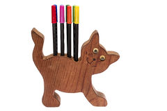 Colorful pens and cat pen holder Stock Photos