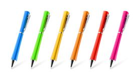 Colorful pens collection on isolated background with clipping path. Vivid pencils for your design or montage stock illustration